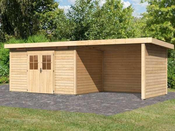 Gartenhaus SET Kerpen 5 CLASSIC 28 mm naturbelassen, inkl. 3,2 m Anbaudach + Seiten-/Rückwand