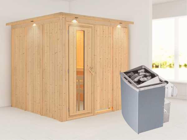 Systemsauna Rodin mit Dachkranz, Holztür mit Isolierglas, inkl. 9 kW Saunaofen integr. Steuerung