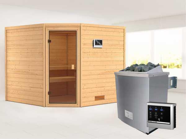 Sauna Massivholzsauna Leona bronzierte Ganzglastür + 9 kW Saunaofen mit ext. Strg