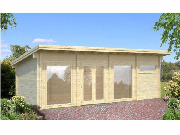 """Gartenhaus Blockbohlenhaus """"Heidi"""" 22,8 m² 70 mm naturbelassen"""