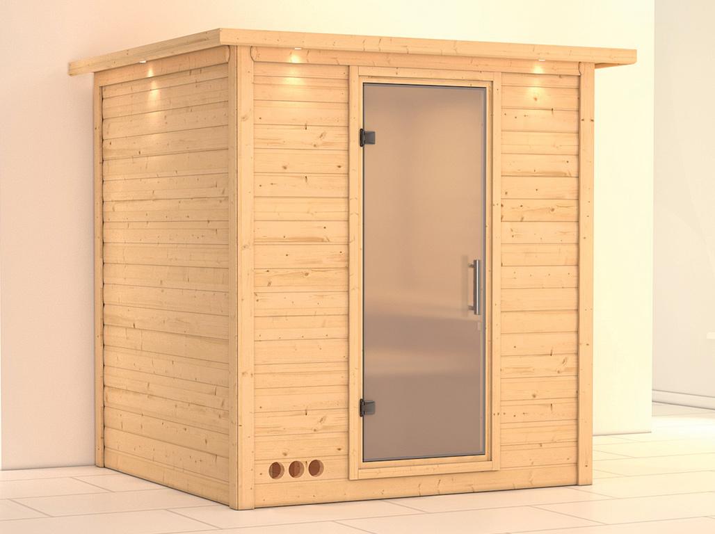 massivholzsauna mojave mit dachkranz satinierte ganzglast r ka4850. Black Bedroom Furniture Sets. Home Design Ideas