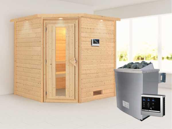 Sauna Massivholzsauna Nina mit Dachkranz, Energiespartür + 9 kW Saunaofen mit ext. Strg
