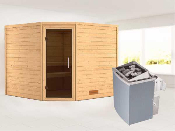 Sauna Massivholzsauna Leona graphit Ganzglastür + 9 kW Saunaofen mit Steuerung