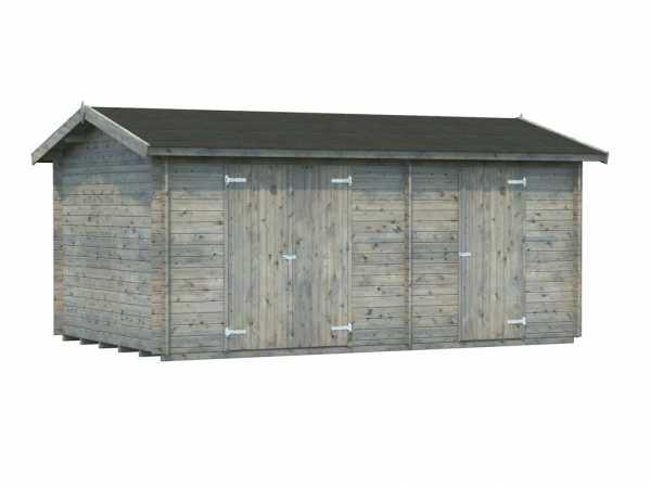 Gerätehaus Blockbohlenhaus Jari 14,5 m² 28 mm grau tauchimprägniert