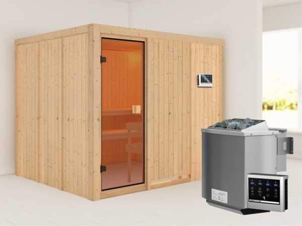 """Sauna """"Nybro"""" mit bronzierter Glastür + 9 kW Bio-Kombiofen mit ext. Strg."""