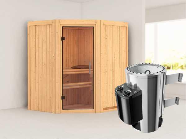 Sauna Systemsauna Tonja Klarglas Ganzglastür + Plug & Play Saunaofen mit Steuerung