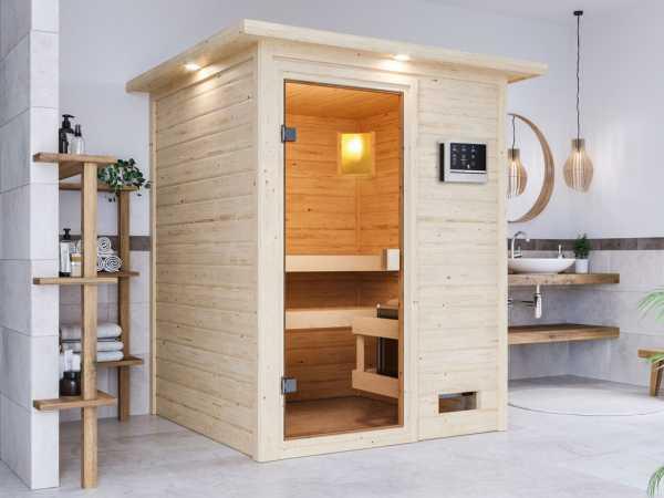 Sauna Sandra mit bronzierter Glastür und Dachkranz + 9 kW Saunaofen ext. Strg.