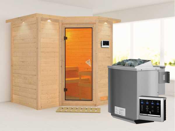 Massivholzsauna Sahib 1 mit Dachkranz, bronzierte Ganzglastür, inkl. 9 kW Bio-Ofen ext. Steuerung
