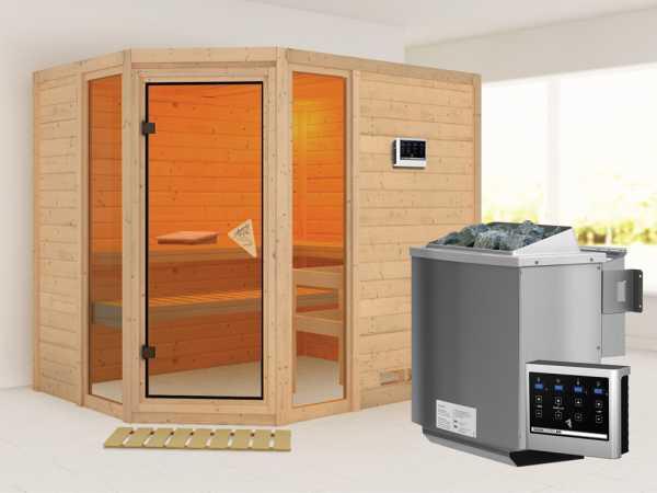 Sauna Massivholzsauna SPARSET Conch inkl. 9 kW Bio-Kombiofen mit ext. Steuerung, bronz. Glastür