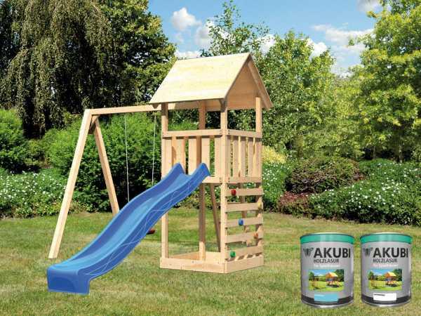 """Spielturm """"Lotti"""" naturbelassen inkl. 2,5 m Wellenrutsche blau + 2 x Farbe, Satteldach"""