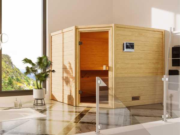 """Sauna """"Lotta"""" mit bronzierter Glastür + 9 kW Bio-Kombiofen ext. Strg."""