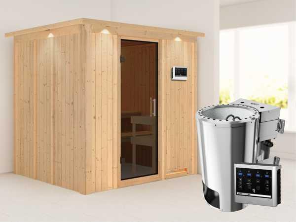 Sauna Systemsauna Daria mit Dachkranz, graphit Ganzglastür + Plug & Play Bio-Ofen mit ext. Strg.