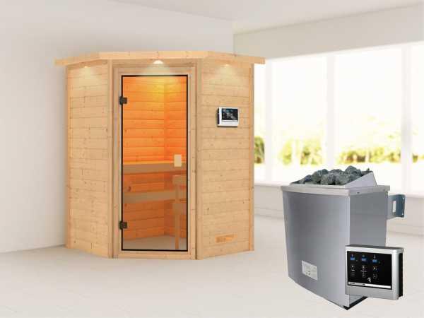 """Sauna """"Antonia"""" mit bronzierter Glastür und Dachkranz + 9 kW Saunaofen ext. Strg."""