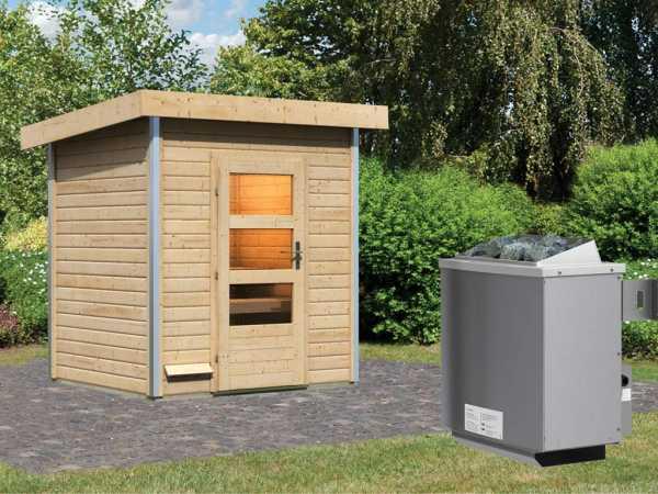 """Saunahaus """"Jorgen"""" mit Klarglastür, inkl. 9 kW Saunaofen mit integrierter Steuerung"""
