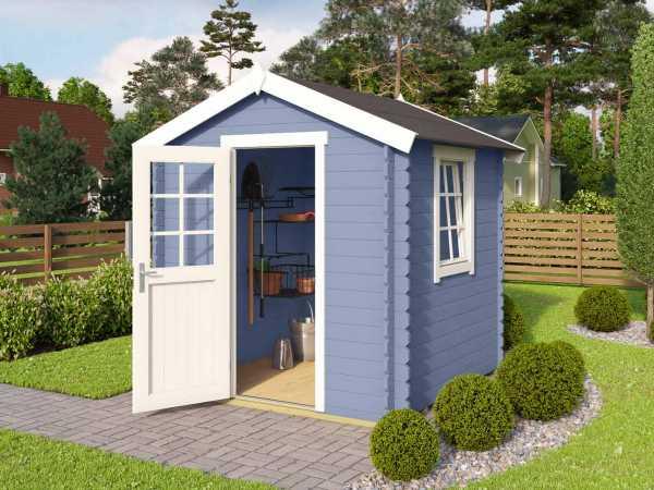 Gartenhaus Blockbohlenhaus Wels 1 28 mm taubenblau