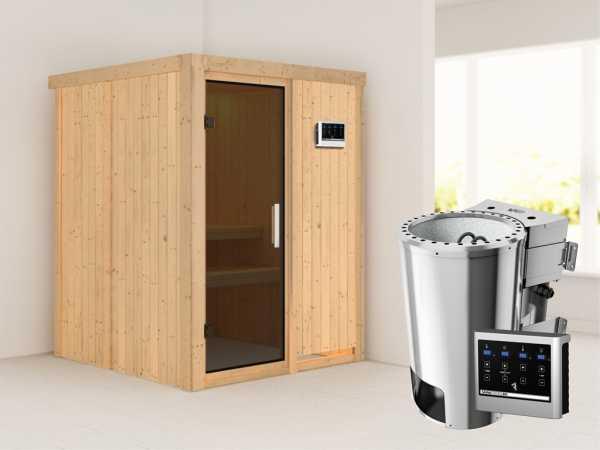 Sauna Systemsauna Minja graphit Ganzglastür + Plug & Play Bio-Ofen mit externer Steuerung