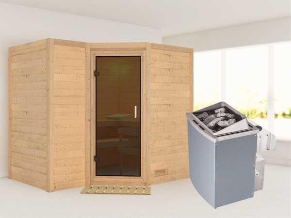 Massivholzsauna Sahib 2 graphit Ganzglastür, inkl. 9 kW Saunaofen integr. Steuerung