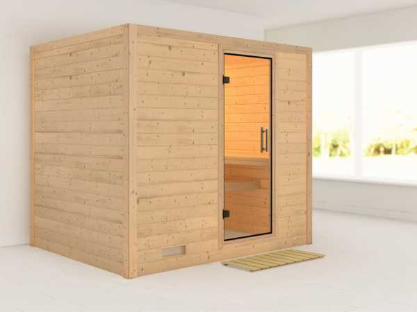 Sauna Massivholzsauna Sonara Klarglas Ganzglastür