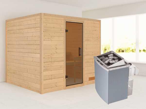 Sauna Massivholzsauna Karla graphit Ganzglastür + 9 kW Saunaofen mit Steuerung