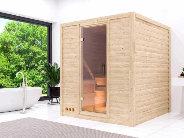 Sauna Massivholzsauna Premiumsauna Eva Klarglastür