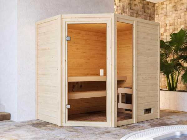 """Sauna """"Jada"""" mit bronzierter Glastür + 9 kW Saunaofen integr. Strg."""