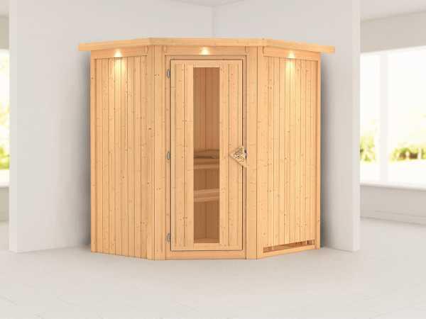 Systemsauna Taurin mit Dachkranz, Holztür mit Isolierglas