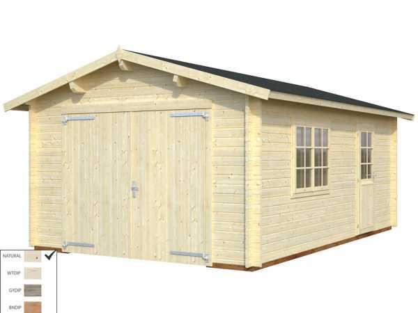 Garage Roger 19,0 m² mit Holztor 44 mm naturbelassen
