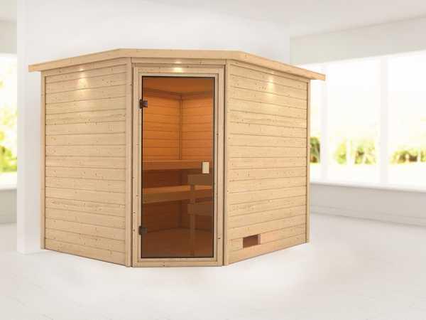"""Sauna """"Lotta"""" mit bronzierter Glastür und Dachkranz"""