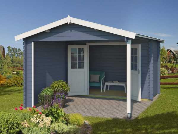Gartenhaus Blockbohlenhaus Walter 28 mm taubenblau