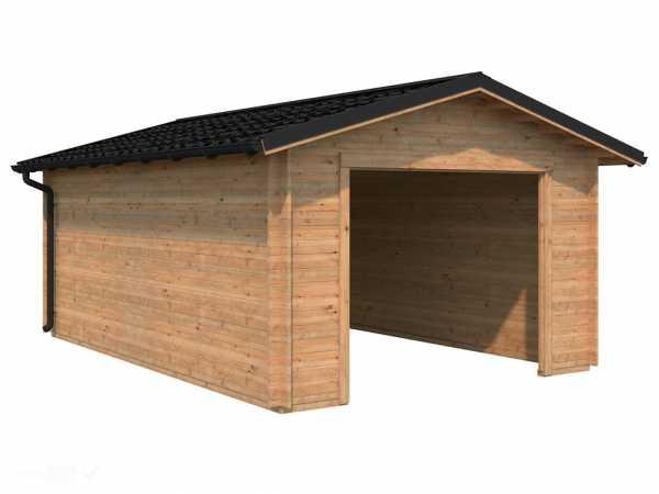 Garage Tomas 19,2 m² ohne Tor 34 mm braun tauchimprägniert