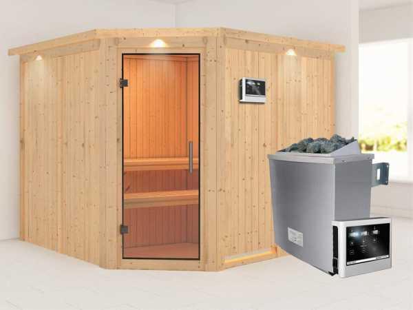 """Sauna Systemsauna """"Farin"""" mit Dachkranz, Klarglas Ganzglastür + 9 kW Saunaofen mit ext.Strg"""