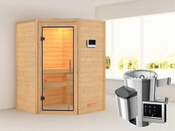 Sauna Massivholzsauna Alicja Klarglas Ganzglastür + Plug & Play Saunaofen mit externer Steuerung