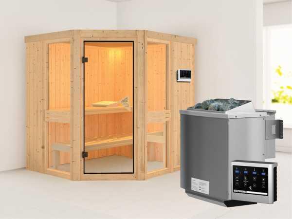 Sauna Systemsauna Amelia 1 inkl. 9 kW Bio-Kombiofen ext. Steuerung