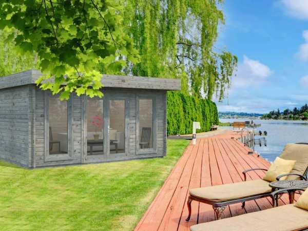 Gartenhaus Blockbohlenhaus Bret 14,8 m² 44 mm grau tauchimprägniert
