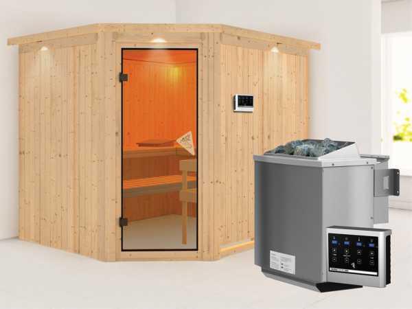 Systemsauna Malin mit Dachkranz, bronzierte Ganzglastür, inkl. 9 kW Bio-Kombiofen ext. Steuerung