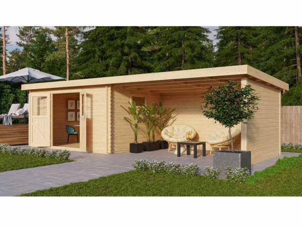 Gartenhaus BBH SET Torgau 5 40 mm naturbelassen, inkl. 4,2 m Anbaudach + Seiten-/Rückwand