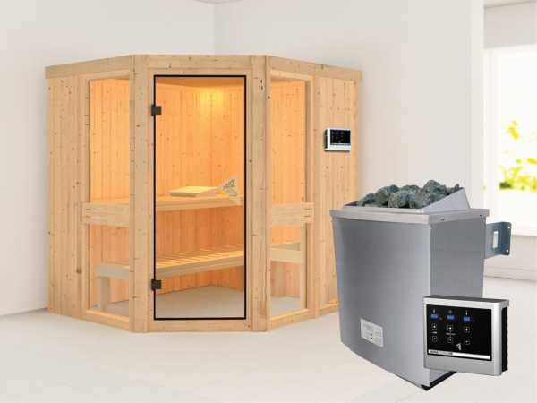 Sauna Systemsauna Amelia 1 inkl. 9 kW Saunaofen ext. Steuerung