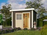 Saunahaus Suva Z Grau mit Holztür, inkl. 9 kW Bio-Ofen mit externer Steuerung