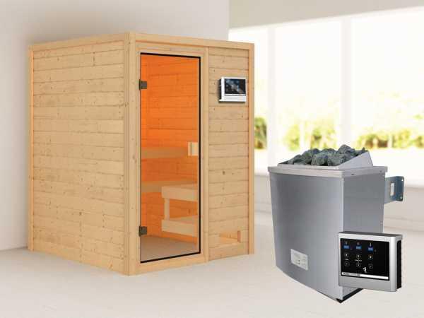 """Sauna """"Sandra"""" mit bronzierter Glastür + 9 kW Saunaofen ext. Strg."""