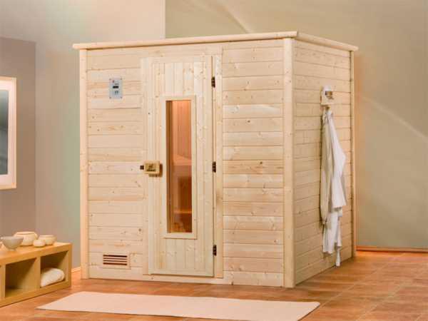 Sauna Massivholzsauna Bergen 1 HT isolierte Holztür mit Glasausschnitt
