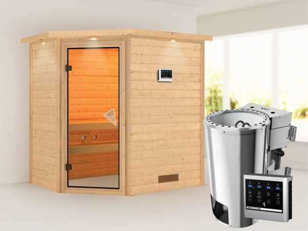 Sauna Massivholzsauna Cilja mit Dachkranz, inkl. Plug & Play Bio-Ofen externe Steuerung