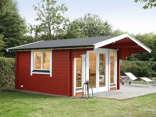 Gartenhaus Blockbohlenhaus Hammerfest 70-D XL 70 mm naturbelassen