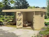 Gartenhaus Blockbohlenhaus Faro 4 28 mm taubenblau