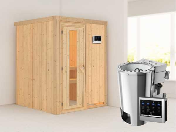 Sauna Systemsauna Minja Energiespartür + Plug & Play Bio-Ofen mit externer Steuerung