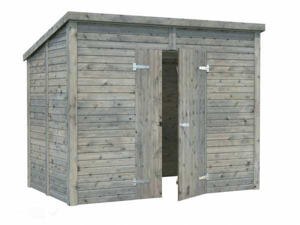 Gerätehaus Leif 4,2 m² 16 mm grau tauchimprägniert