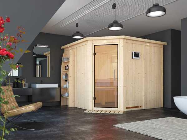 """Sauna Systemsauna """"Farin"""" mit Dachkranz, Klarglas Ganzglastür + 9 kW Bio-Kombiofen mit ext.Strg"""