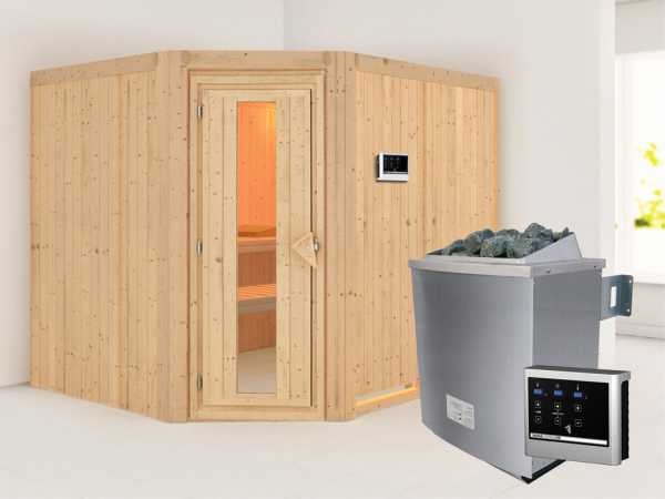 Systemsauna Malin Holztür mit Isolierglas, inkl. 9 kW Saunaofen ext. Steuerung