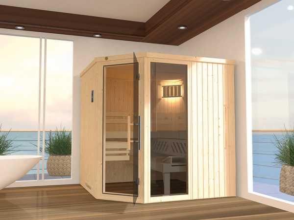 Sauna Systemsauna SPARSET 2 Varberg 3 mit graphit Glastür inkl. Bio-Ofen & Fenster