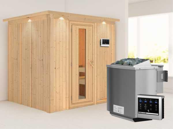 """Systemsauna """"Sodin"""" mit Dachkranz, Holztür mit Isolierglas, inkl. 9 kW Bio-Kombiofen ext. Steuerung"""