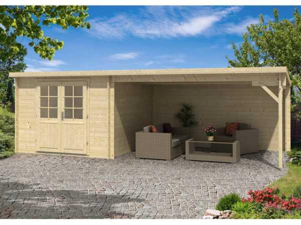 gartenhaus blockh tte charlie 28 mm naturbelassen 762031. Black Bedroom Furniture Sets. Home Design Ideas